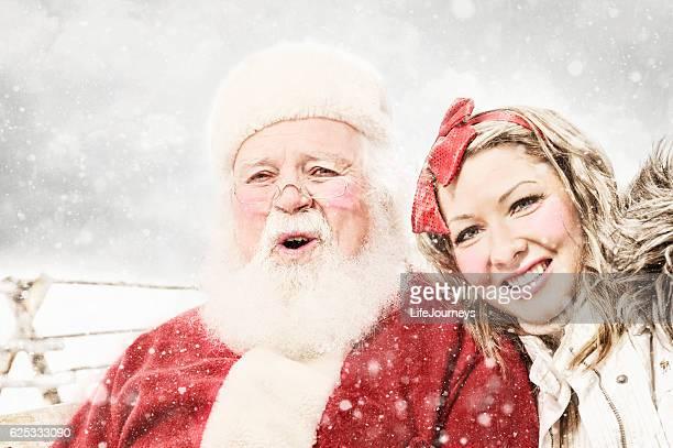 Santa and Elf In Rural Snow Storm