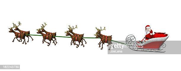 santa and reindeer on white - sleigh stock photos and pictures
