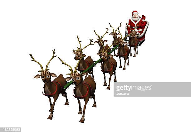 santa and sleigh - cartoon santa claus stock photos and pictures