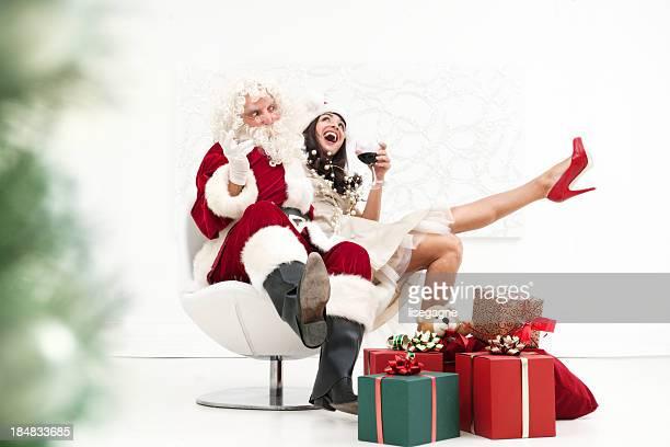 Santa and woman drunk