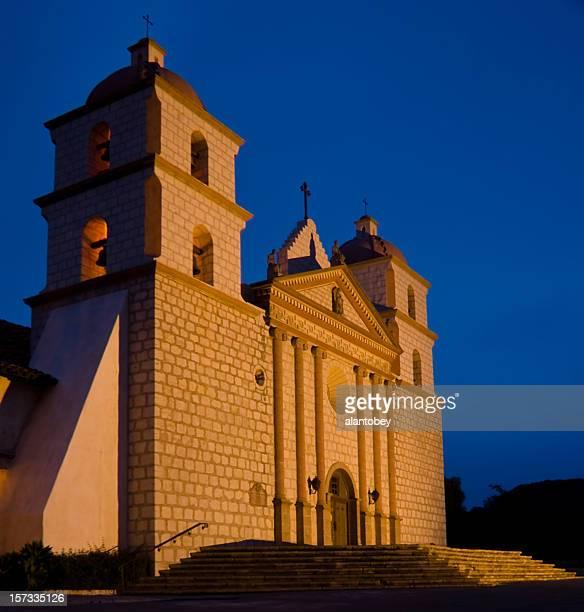 santa barbara ca: mission at night - mission santa barbara stock pictures, royalty-free photos & images