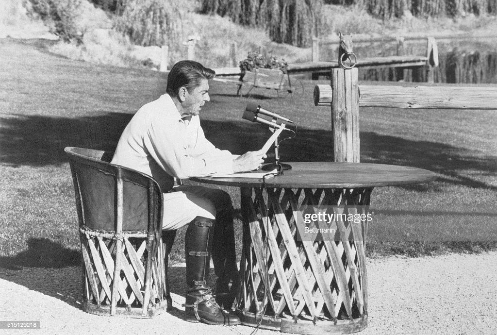 Ronald Reagan Making Radio Address : News Photo