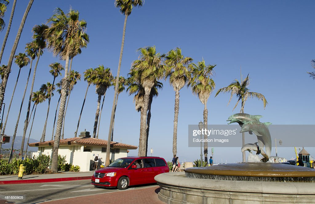 Santa Barbara California Ca Waterfront And Beaches Pier Of Beach For Tourists On Boardwalk With
