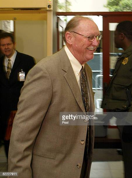 Santa Barbara County District Attorney Thomas Sneddon passes through a security checkpoint as he arrives at the Santa Barbara County Courthouse for...