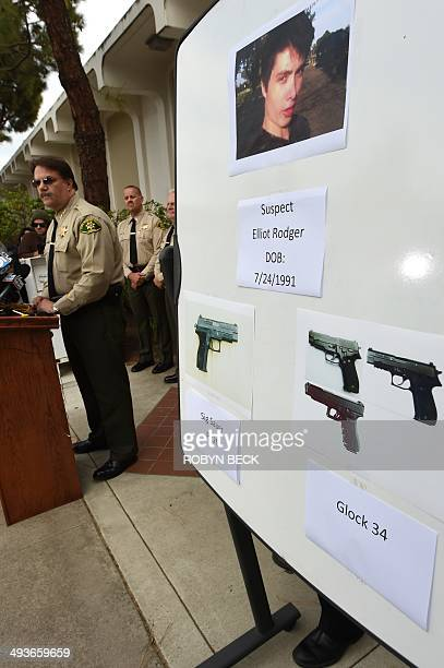Santa Barbara County Sheriff Bill Brown identifies murder suspect Elliot Rodger at a press conference in Goleta California May 24 2014 Rodger went on...