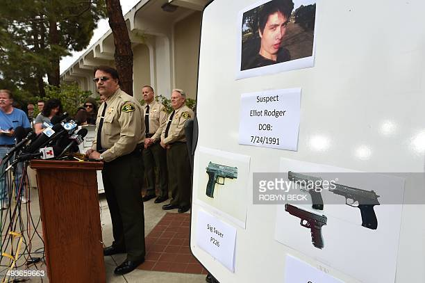 Santa Barbara County Sheriff Bill Brown identifies murder suspect Elliot Rodger and some of the weapons he used at a press conference in Goleta...