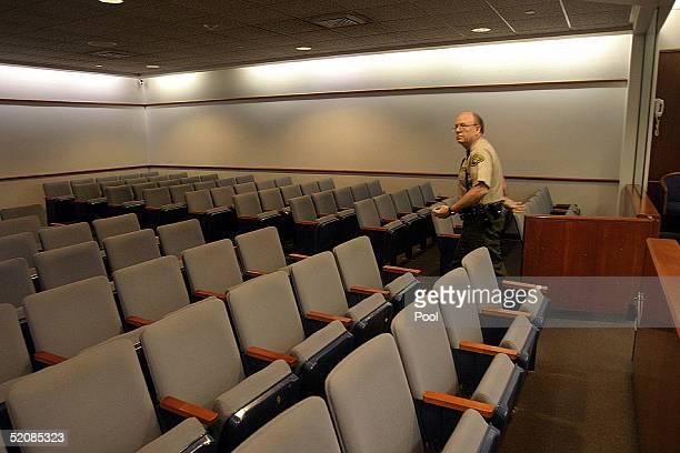 Santa Barbara Deputy Sheriff Dennis Narron walks through Courtroom one day before jury selection begins for the Michael Jackson child molestation...