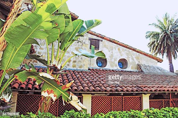 santa barbara mission in california, usa - old building exterior with barrel tile roof - mission santa barbara stock pictures, royalty-free photos & images