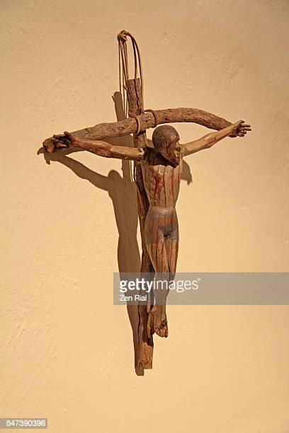 santa barbara mission in california, usa  - wooden crucifix - mission santa barbara stock pictures, royalty-free photos & images