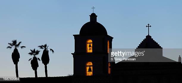 santa barbara mission silhouette - mission santa barbara stock pictures, royalty-free photos & images