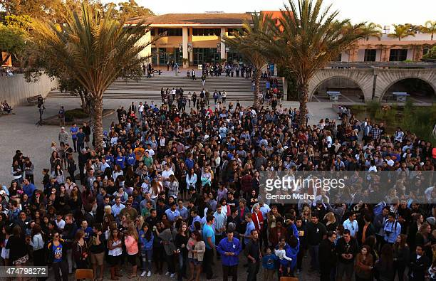 Santa Barbara residents and UC Santa Barbara students come together for a student-led gathering on May 23, 2015 in remembrance of those who were...