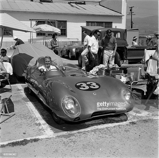 Santa Barbara Road Race. Actor Steve McQueen's Lotus Eleven in the paddock area after a fresh set of tires.