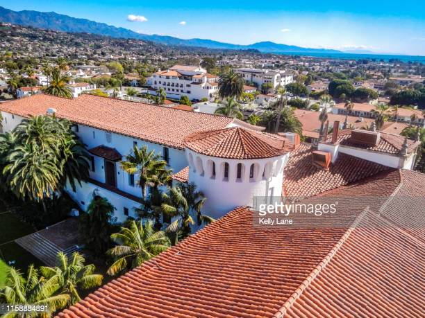 santa barbara skyline from the courthouse - santa barbara county courthouse stock pictures, royalty-free photos & images