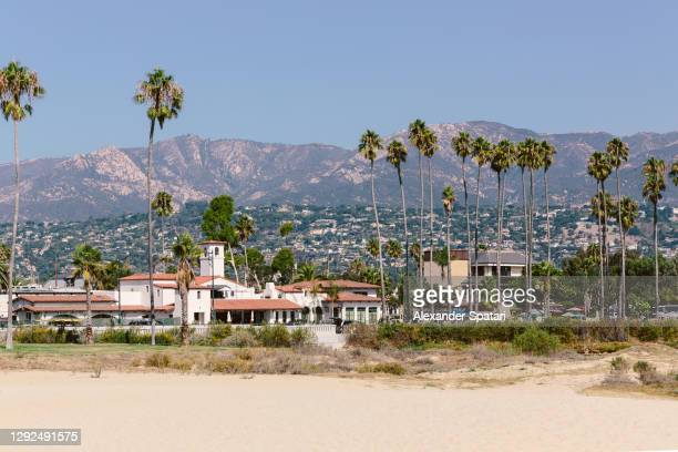 santa barbara skyline with beach and palm trees, california, usa - california stock pictures, royalty-free photos & images