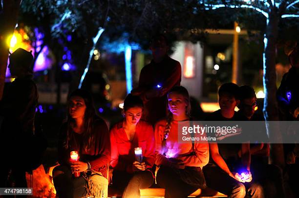 Santa Barbara students participate in a memorial in People's Park on MAy 23 2015 in Isla Vista Calfornia in remembrance of those who were killed and...