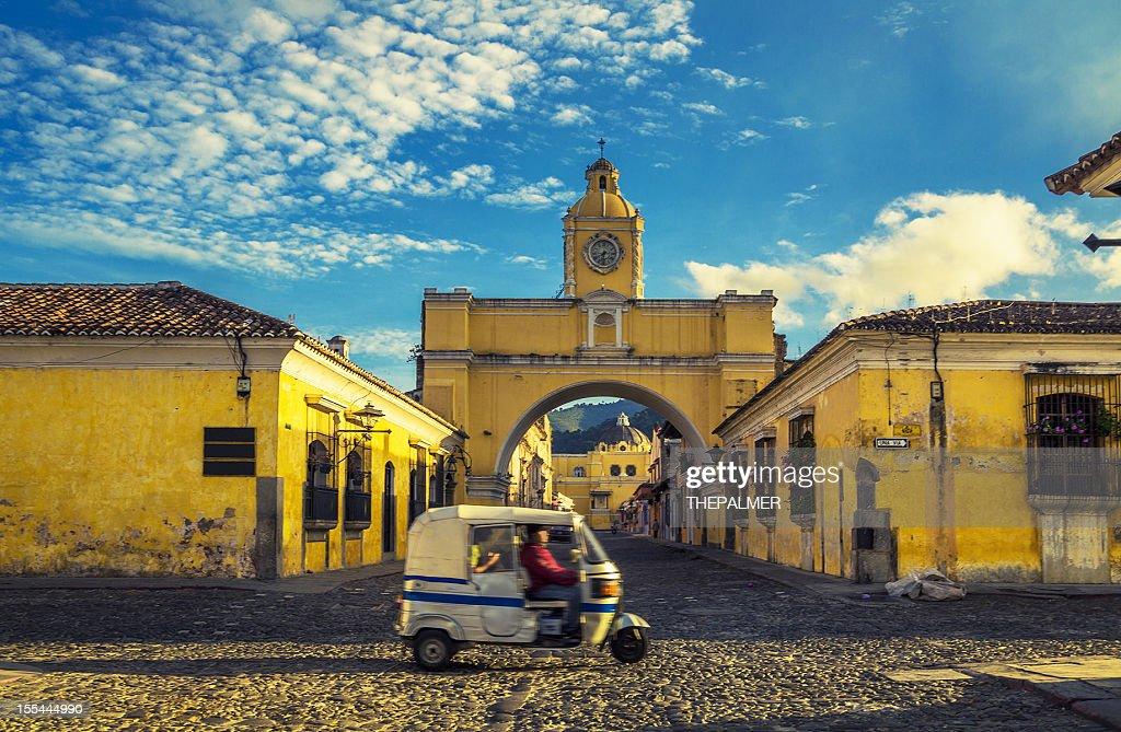 santa catalina arch in antigua downtown : Stock Photo