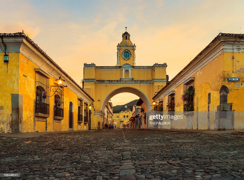 santa catalina arch in antigua downtown : Stock Photo