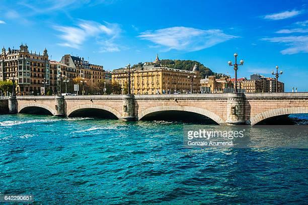 santa catalina bridge in san sebastian - san sebastian spain stock pictures, royalty-free photos & images
