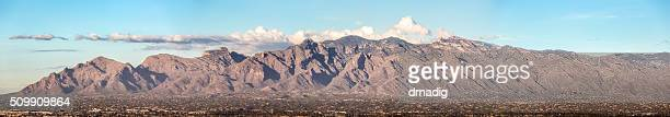 santa catalina mountains miniaturize the foothills below - foothills stock pictures, royalty-free photos & images