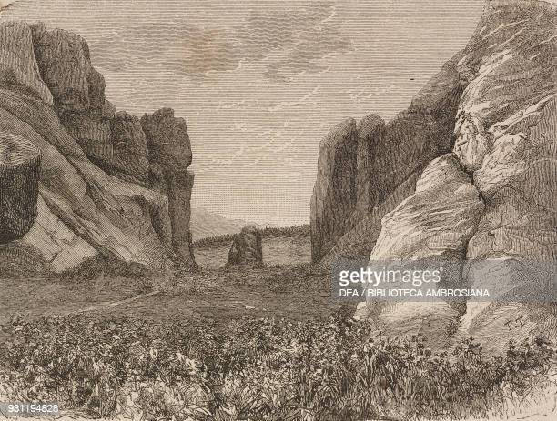 Santa Caterina cliff between Porec and Fasana Croatia drawing by Eugene Grandsire from a sketch by Yriarte from Trieste and Istria by Charles Yriarte...