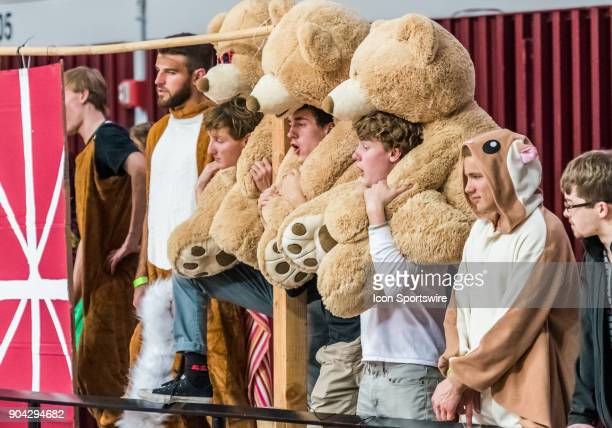 Santa Clara Broncos fans enjoy costume night during the game between the StMary's Gaels and the Santa Clara Broncos on Thursday January 11 2018 at...