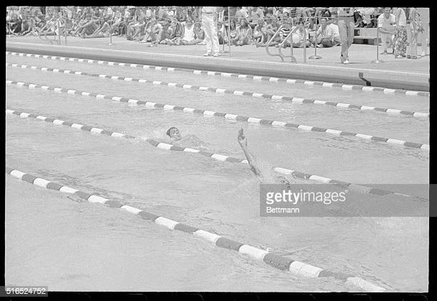 Santa Clara California Santa Clara Swim Classic Roland Matthes of East Germany leads Mitch Ivey of Santa Clara's Swim Club as the two battled it out...