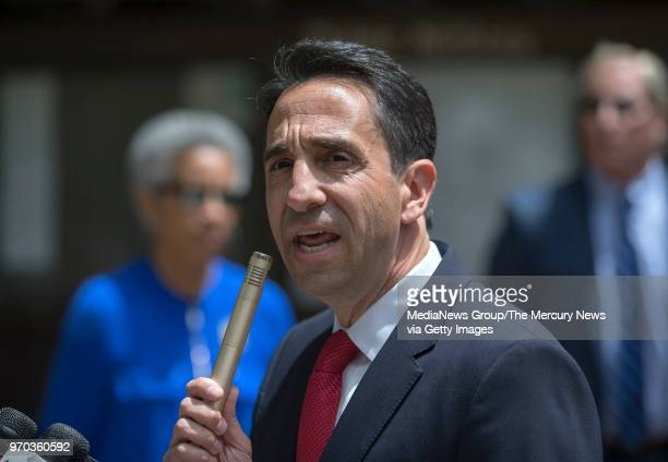 Santa Clara County District Attorney Jeff Rosen speaks in support of Judge Aaron Persky at the No Recall campaign rally in front of the Santa Clara...