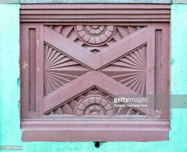 santa clara, cuba, art deco architectural detail - santa clara cuba stock pictures, royalty-free photos & images