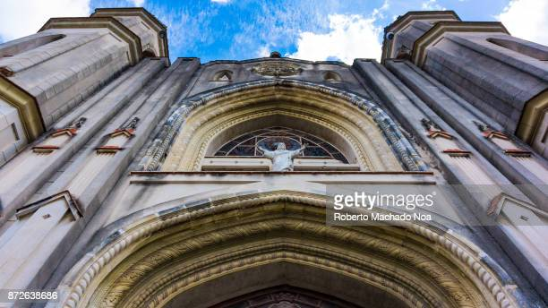 Santa Clara, Cuba: Catholic Cathedral facade architectural features in the daytime