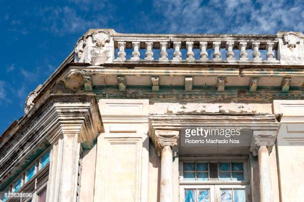 santa clara, cuba: old weathered building detail in the daytime - santa clara cuba stock pictures, royalty-free photos & images