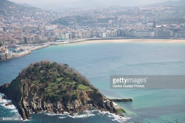 Santa Clara island and La Concha beach in San Sebastian, Basque Country