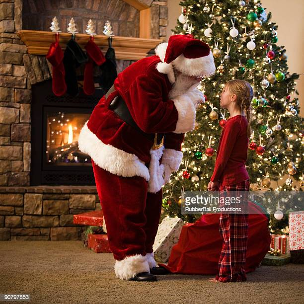 santa claus and a girl talking - orem utah stock pictures, royalty-free photos & images