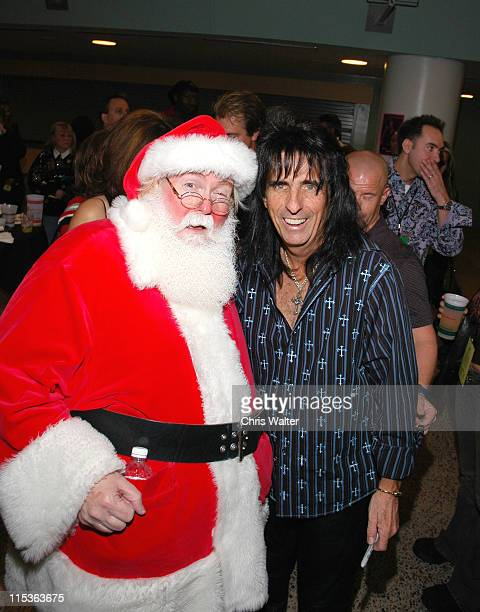 Santa Claus and Alice Cooper during Alice Cooper's 'Christmas Pudding' Concert to Benefit Solid Rock Foundation Backstage at Dodge Theatre in Phoenix...