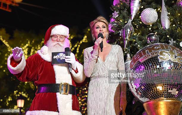 Santa Claus and Erin Andrews attend ABC's 'Dancing With The Stars' Season Finale hosted by The Grove at The Grove on November 24 2015 in Los Angeles...