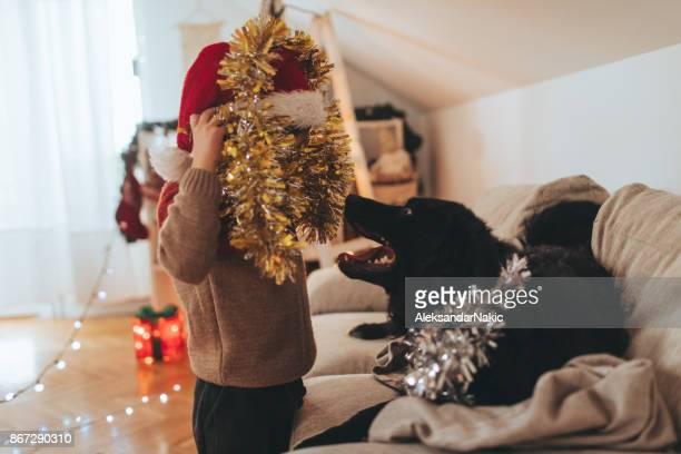 Santa Claus and his little helper