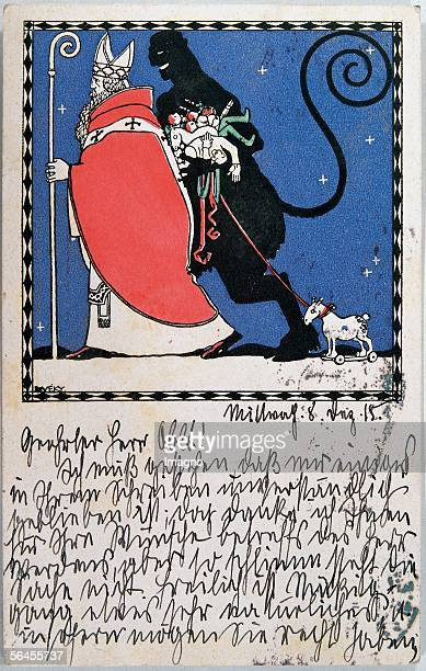Santa Claus and Krampus Felicitation card Postcard by the Viennese Werkstaette Number 238 Colour Lithography by Josef von Diveky Around 1910 [Nikolo...
