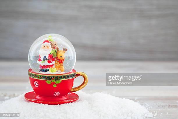 Santa Claus and reindeer snow globe