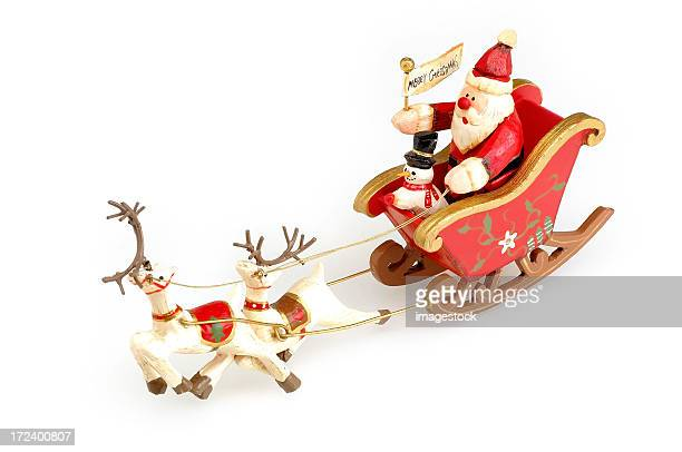 Santa Claus and snowman on sleigh