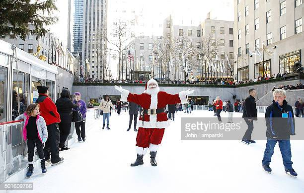 Santa Claus attends 'Elf The Musical' cast opens the VIP Igloo at the Rink at Rockefeller Center at The Rink at Rockefeller Center on December 16...