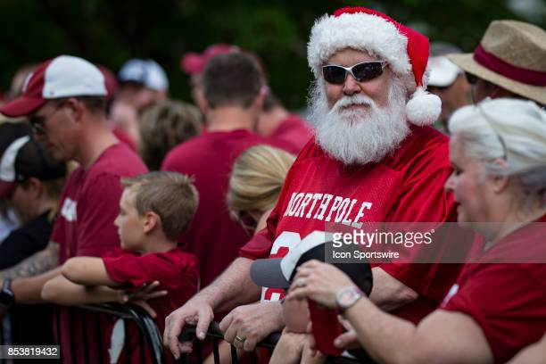 Santa Claus awaits the Alabama football team before a college football game between the Vanderbilt Commodores and the Alabama Crimson Tide on...