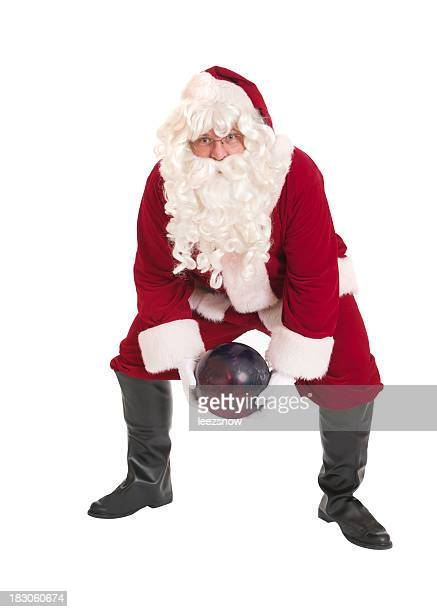 Santa Claus Bowling on a White Background