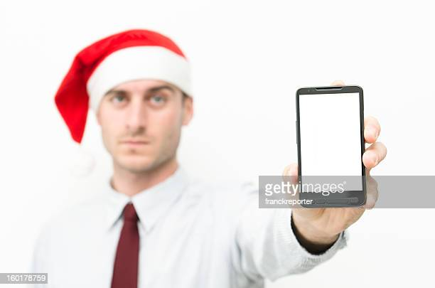Santa Claus business man showing a blank contemporary smart phone