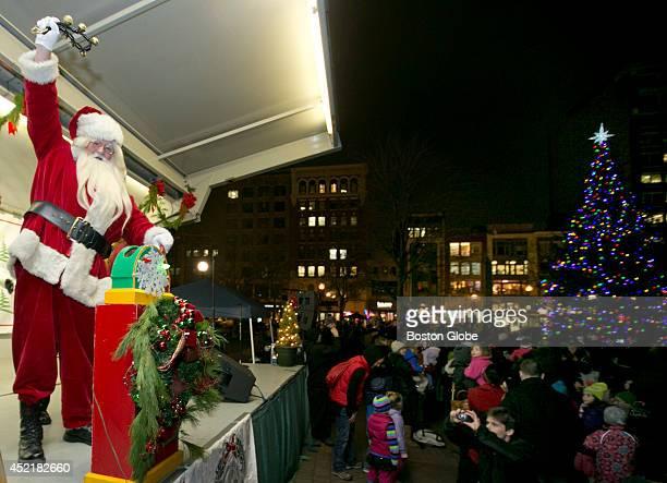 Santa Claus cheered after lighting the Christmas tree at Copley Square Boston Mayor Tom Menino lit the Copley Square Tree with the Friends of Copley...