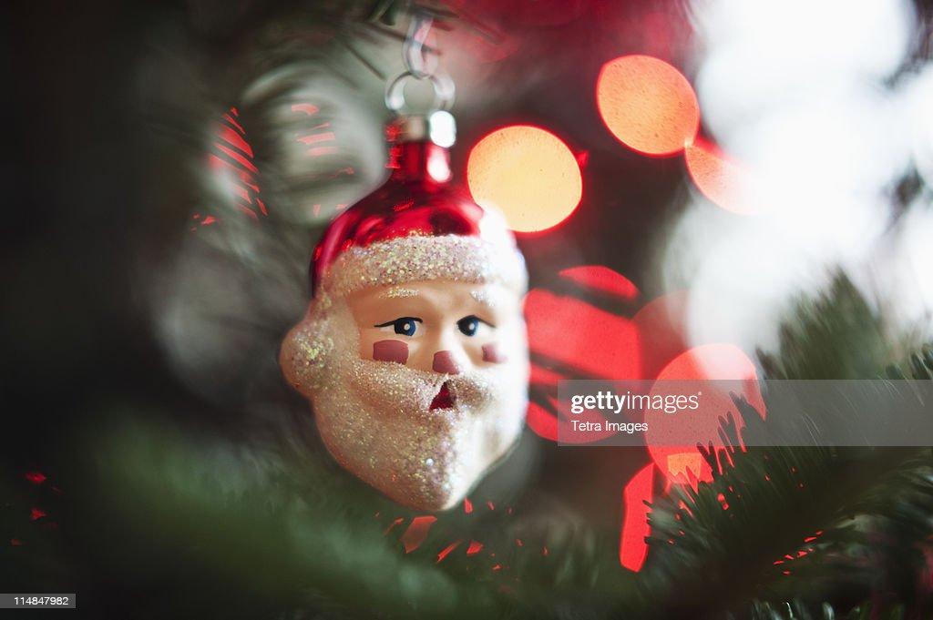 Santa Claus Christmas decoration hanging on Christmas tree, studio shot : Stock Photo