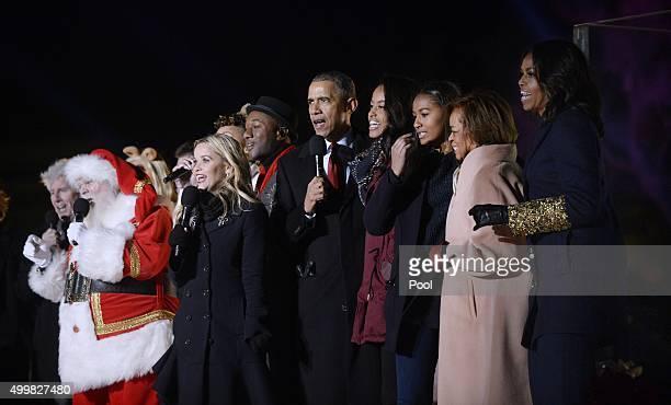 Santa Claus Crosby Stills Nash actress Reese Witherspoon President Barack Obama Malia Obama Sasha Obama motherinlaw Marian Robinson and first lady...