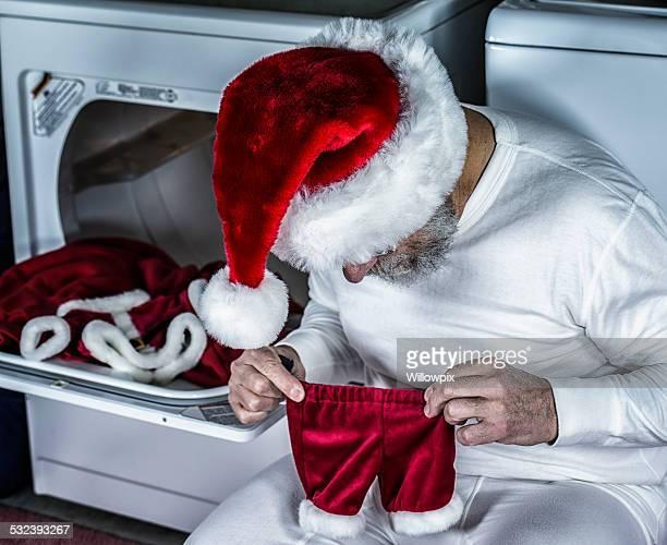 Santa Claus Disbelief With Shrunken Costume Pants