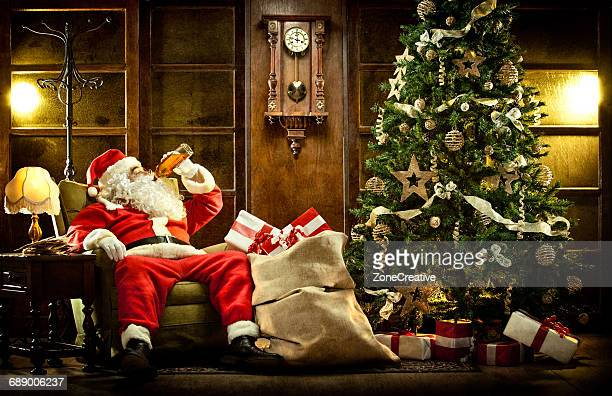 Santa Claus drink in a vintage house
