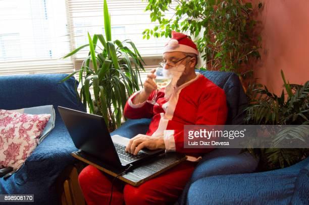 Santa Claus drinking white wine