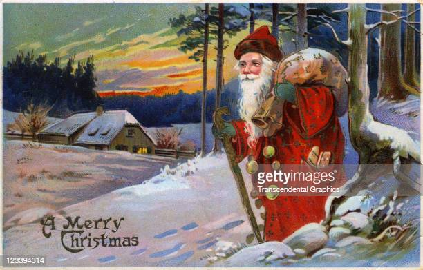 Santa Claus emerges from the woods in this Christmas postcard printed early 20th century in Germany