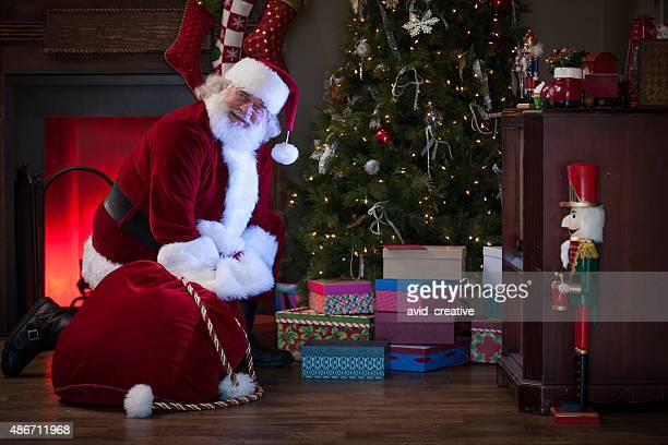 Santa Claus Enjoys Delivering Gifts